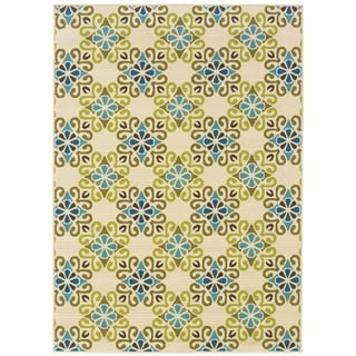 StyleHaven Floral Ivory/Blue Indoor-Outdoor Area Rug (7'10x10'10)
