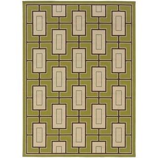 StyleHaven Geometric Green/Ivory Indoor-Outdoor Area Rug (5'3x7'6)