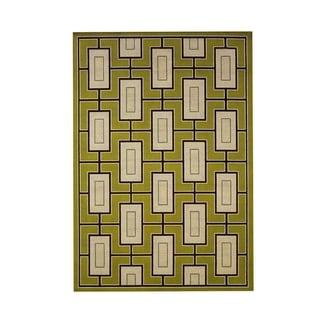 StyleHaven Geometric Green/Ivory Indoor-Outdoor Area Rug (6'7x9'6)