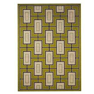 StyleHaven Geometric Green/Ivory Indoor-Outdoor Area Rug (7'10x10'10)