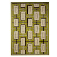 Carson Carrington Roskilde Geometric Green/ Ivory Indoor/ Outdoor Area Rug - 7'10 x 10'10