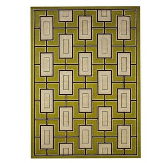 "Carson Carrington Tuusula Geometric Green/ Ivory Indoor/ Outdoor Area Rug - 7'10"" x 10'10"""