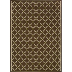 Brown/Ivory Geometric Outdoor Area Rug (5'3 x 7'6)