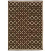 StyleHaven Lattice Brown/Ivory Indoor-Outdoor Area Rug (5'3x7'6)