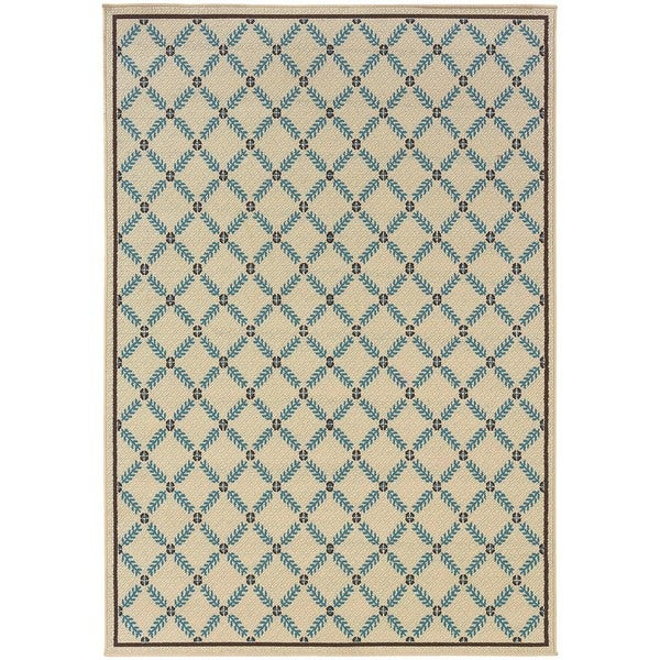 StyleHaven Lattice Ivory/Blue Indoor-Outdoor Area Rug (3'7x5'6)