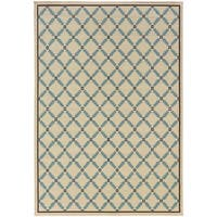 StyleHaven Lattice Ivory/Blue Indoor-Outdoor Area Rug (6'7x9'6)