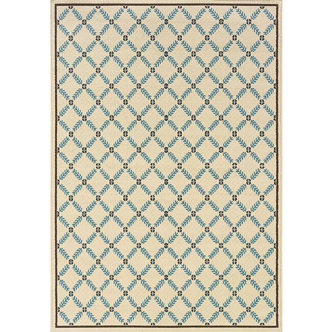 Ivory Blue Geometric Outdoor Area Rug 7 10 x 10 10