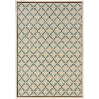 StyleHaven Lattice Ivory/Blue Indoor-Outdoor Area Rug (7'10x10'10)