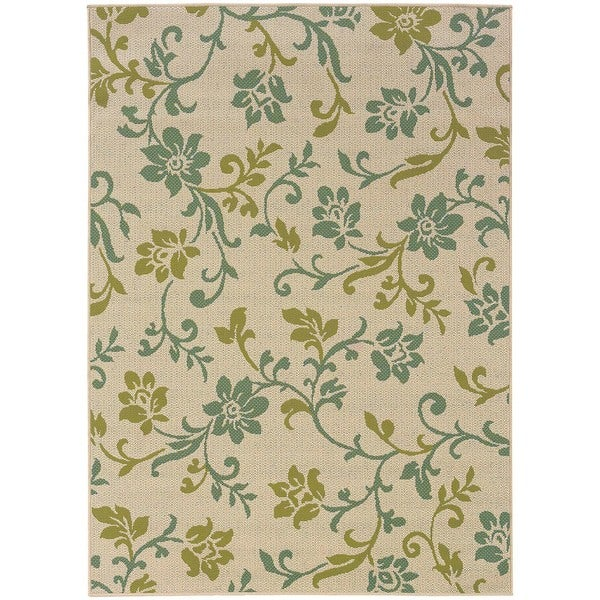 StyleHaven Floral Ivory/Green Indoor-Outdoor Area Rug (3'7x5'6)