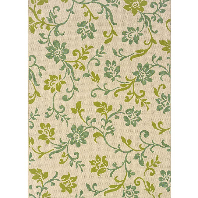 Ivory Green Outdoor Area Rug 6 7 X 9 6 Free Shipping