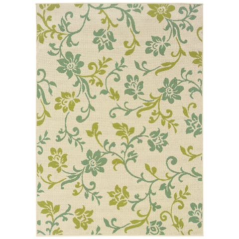 """StyleHaven Floral Ivory/Green Indoor-Outdoor Area Rug (7'10x10'10) - 7'10"""" x 10'10"""""""