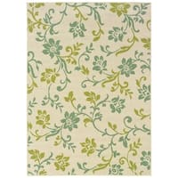 "StyleHaven Floral Ivory/Green Indoor-Outdoor Area Rug (7'10x10'10) - 7'10"" x 10'"
