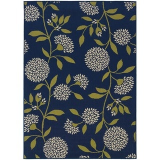 StyleHaven Floral Blue/Green Indoor-Outdoor Area Rug (3'7x5'6)