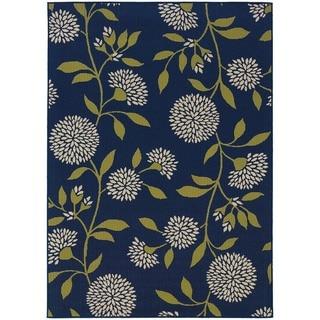 StyleHaven Floral Blue/Green Indoor-Outdoor Area Rug (3'7x5'6)