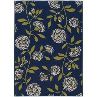 StyleHaven Floral Blue/Green Indoor-Outdoor Area Rug (7'10x10'10)