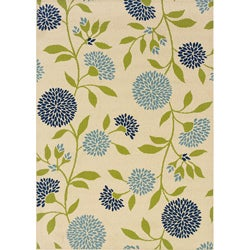 Floral Ivory/ Green Outdoor Area Rug (3'7 x 5'6)
