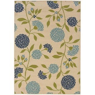 "Palm Canyon Baristo Floral Ivory/Green Indoor/ Outdoor Area Rug (3'7 x 5'6) - 3'10"" x 5'6"""
