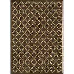 Brown/ Ivory Outdoor Area Rug (7'10 x 10'10)