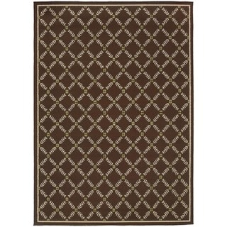 StyleHaven Lattice Brown/Ivory Indoor-Outdoor Area Rug (7'10x10'10)