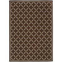 "StyleHaven Lattice Brown/Ivory Indoor-Outdoor Area Rug (7'10x10'10) - 7'10"" x 10'10"""