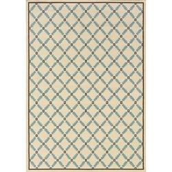 "Geometric Ivory/Blue Outdoor Area Rug (5'3"" x 7'6"")"