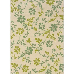 "Ivory/Green Outdoor Area Rug (5'3"" x 7'6"")"