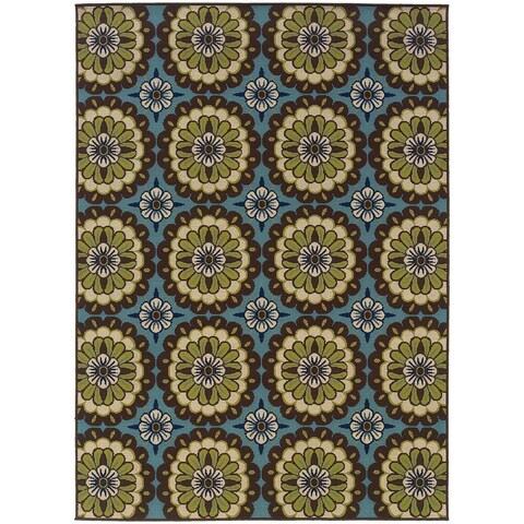 "Carson Carrington Enkoping Floral Blue/Brown Indoor/ Outdoor Area Rug - 7'10"" x 10'"