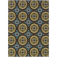 Palm Canyon Alameda Floral Blue/Brown Indoor/ Outdoor Area Rug (7'10 x 10'10)