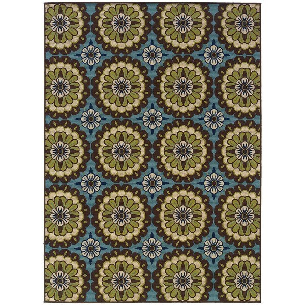"""Palm Canyon Alameda Floral Blue/Brown Indoor/ Outdoor Area Rug (7'10 x 10'10) - 7'10"""" x 10'"""