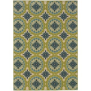 StyleHaven Floral Green/Ivory Indoor-Outdoor Area Rug (5'3x7'6)