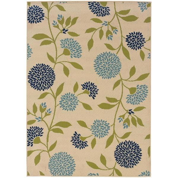 StyleHaven Floral Ivory/Green Indoor-Outdoor Area Rug (5'3x7'6)