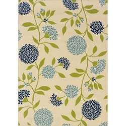 Ivory/Green Floral Outdoor Area Rug (6'7 x 9'6)