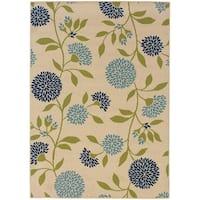 """Palm Canyon Baristo Floral Ivory/Green Indoor/ Outdoor Area Rug - 6'7"""" x 9'6"""""""