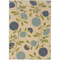 Palm Canyon Baristo Floral Ivory/Green Indoor/ Outdoor Area Rug (6'7x9'6) - 6'7x9'6
