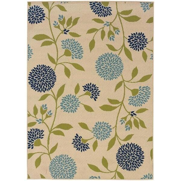 StyleHaven Floral Ivory/Green Indoor-Outdoor Area Rug (6'7x9'6)