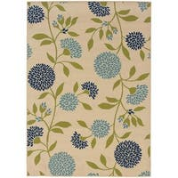 Palm Canyon Baristo Floral Ivory/Green Indoor/ Outdoor Area Rug (7'10 x 10'10) - 7'10x10'10