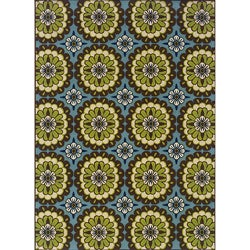 Blue and Green Outdoor Area Rug (5'3 x 7'6)