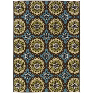 StyleHaven Floral Blue/Brown Indoor-Outdoor Area Rug (6'7x9'6)