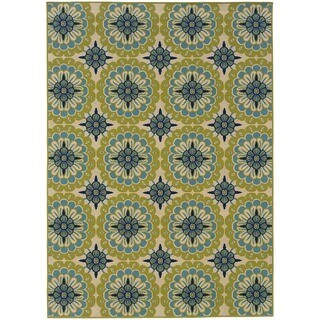 Palm Canyon Ceres Floral Green/Ivory Indoor/ Outdoor Area Rug (3'7x5'6)