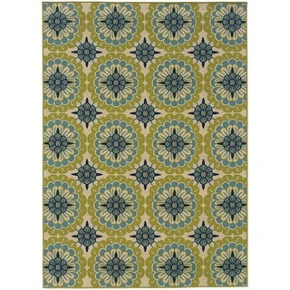 Palm Canyon Ceres Floral Green/Ivory Indoor/ Outdoor Area Rug (7'10 x 10'10) - Thumbnail 0