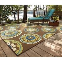 Havenside Home Lewisburg Medallion Brown/Green Indoor-Outdoor Area Rug - 6'7 x 9'6