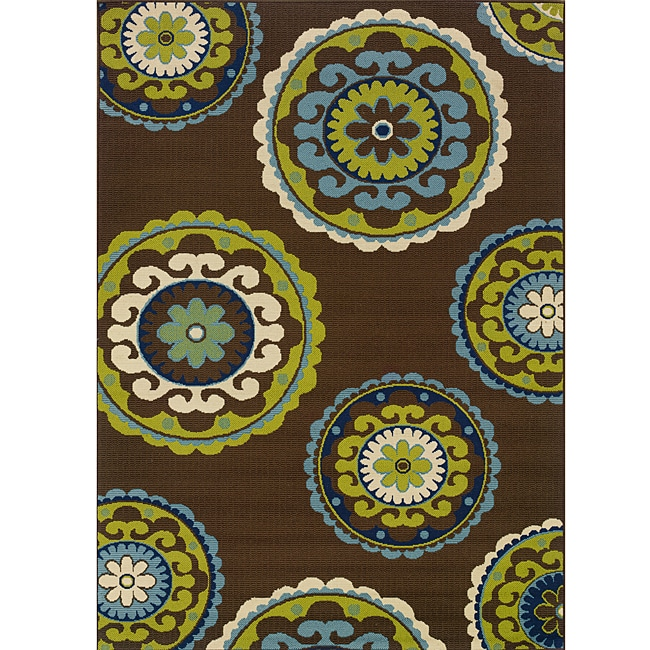 Outdoor Rug 7 X 10: Brown/Green Contemporary Outdoor Area Rug (7'10 X 10'10