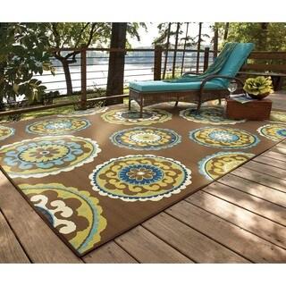 """Havenside Home Lewisburg Medallion Brown/ Green Indoor/ Outdoor Area Rug (7'10 x 10'10) - 7'10"""" x 10'"""