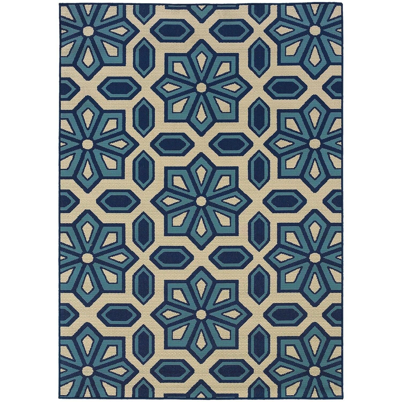 StyleHaven Tiles Ivory/Blue Indoor-Outdoor Area Rug (6\'7x9\'6) - 6\'7 ...