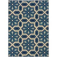 StyleHaven Tiles Ivory/Blue Indoor-Outdoor Area Rug (6'7x9'6) - 6'7 x 9'6