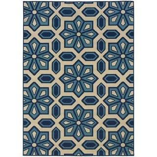 StyleHaven Tiles Ivory/Blue Indoor-Outdoor Area Rug (6'7x9'6)
