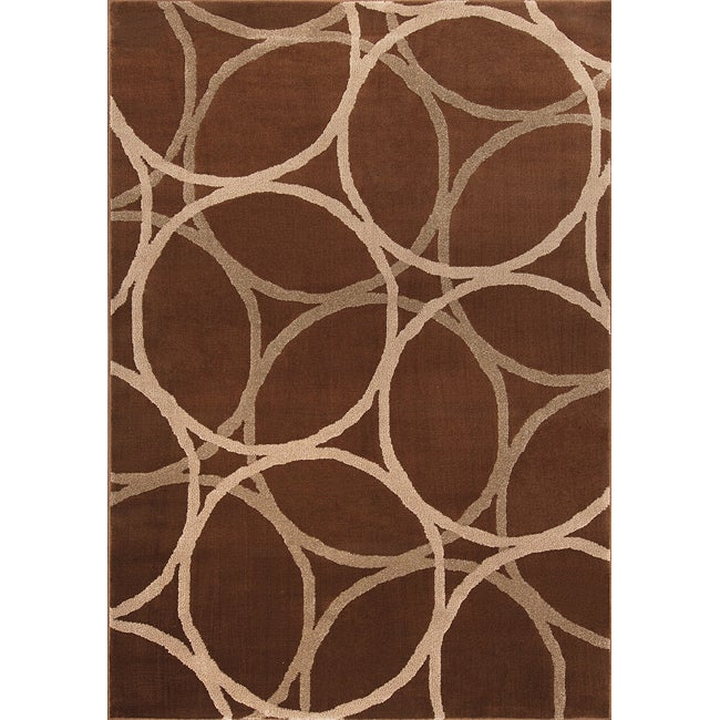 Miramar Brown/Beige Contemporary Area Rug (7'10 x 10')