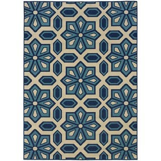 StyleHaven Tiles Ivory/Blue Indoor-Outdoor Area Rug (5'3x7'6)|https://ak1.ostkcdn.com/images/products/6233358/P13875027.jpg?impolicy=medium