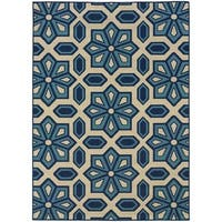 Carson Carrington Naestved Tiles Ivory/Blue Indoor/Outdoor Area Rug - 5'3 x 7'6