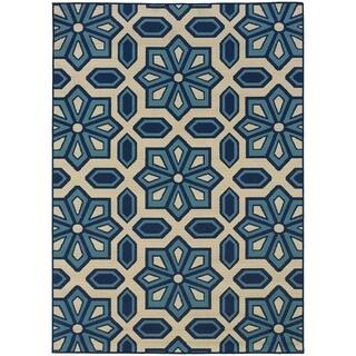 StyleHaven Tiles Ivory/Blue Indoor-Outdoor Area Rug (5'3x7'6) - 5'3 x 7'6